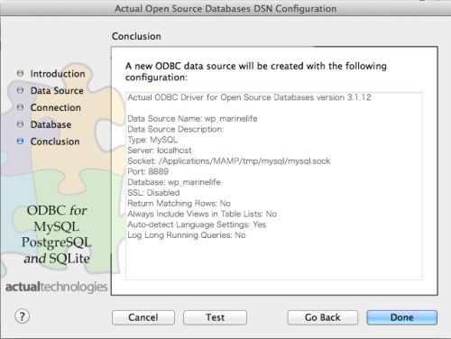 Actual Open Source DatabaseのDSN 設定6