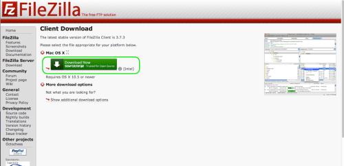 FillZillaMac はこっちをダウンロード