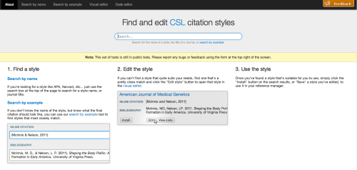 Find and edit CSL citation styles