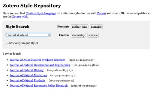 Zotero Style Repositoryから欲しい引用スタイルをさがします